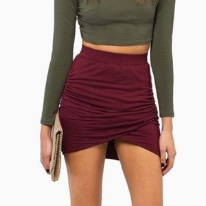 Burgundy Wrap Skirt
